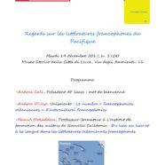 Litteratures francophones du Pacifique, conférence à Lecce, Italie